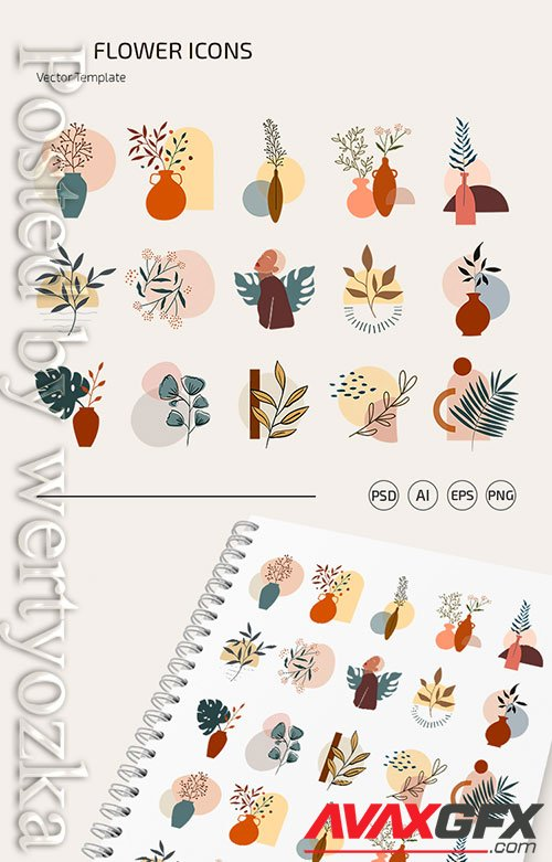 FLOWER ICONS TEMPLATE IN PSD + VECTOR (.AI+.EPS)