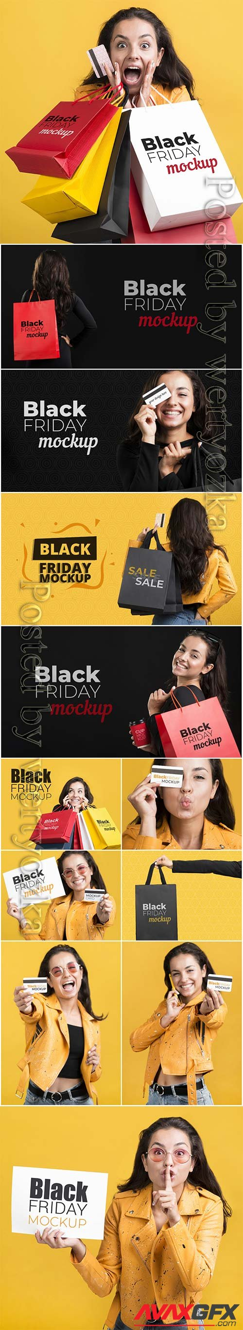 Woman with black friday concept psd template