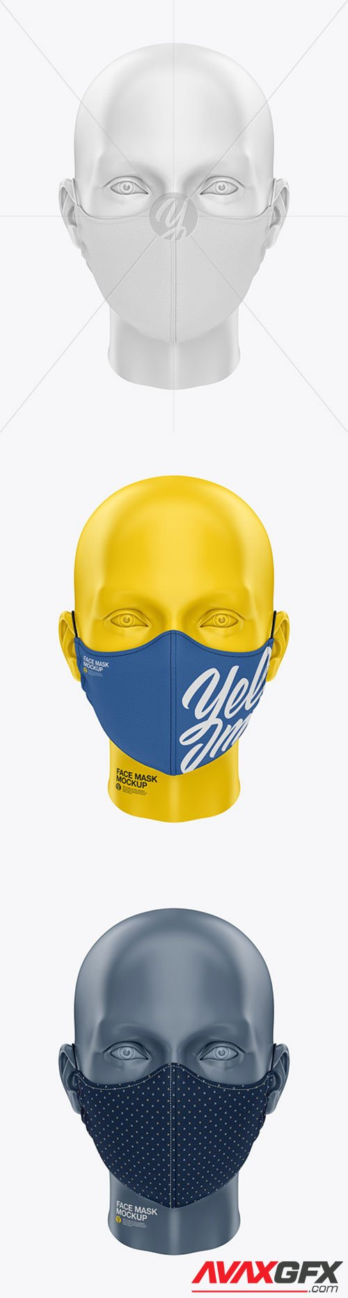 Face Mask with Elastic Cord and Stopper - Front View 61447