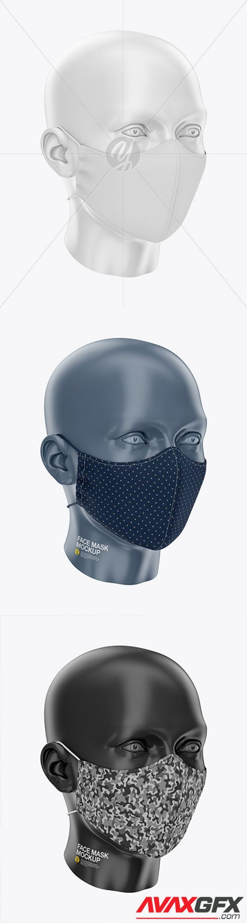 Face Mask with Elastic Cord and Stopper - Front Half-Side View 61433
