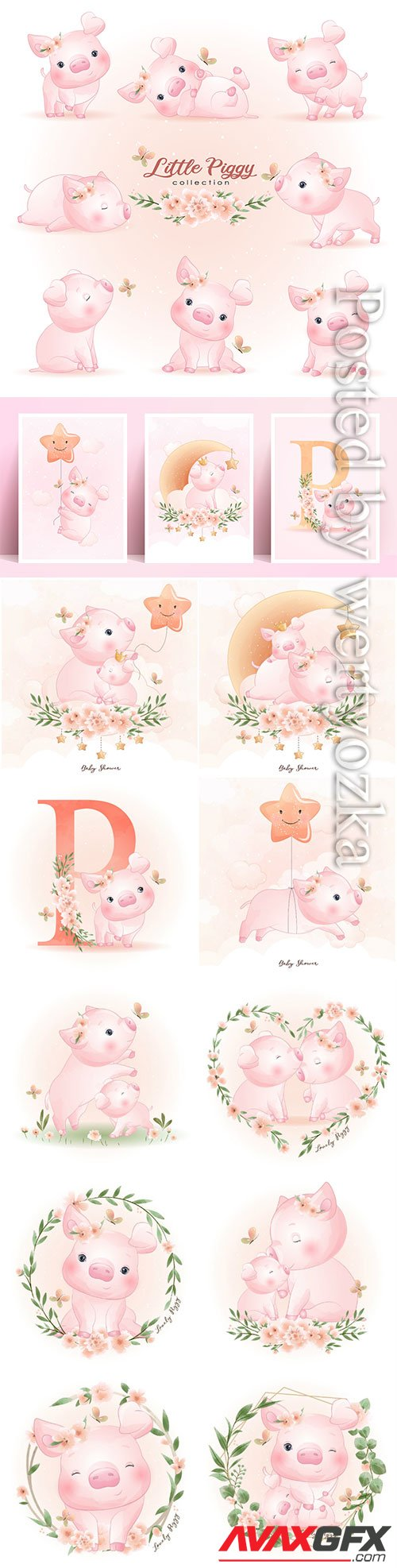 Cute doodle piggy poses with floral illustration premium vector