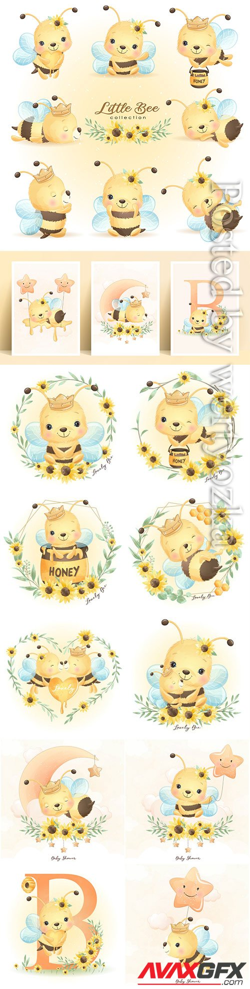 Cute doodle bee poses with floral collection premium vector