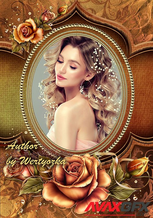 Photo frame with yellow-golden roses » AVAXGFX - All ...