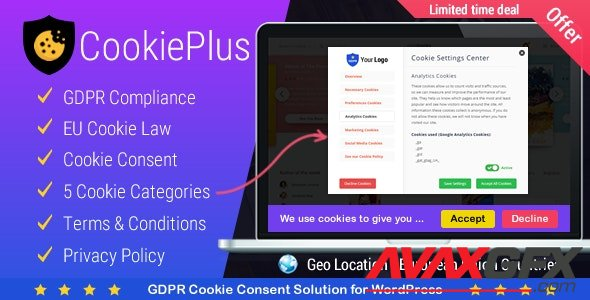 CodeCanyon - Cookie Plus GDPR v1.5.6 - Cookies Consent Solution for WordPress. Master Popups Addon - 21984547