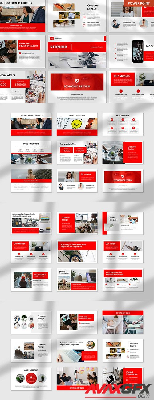 Rednoir PowerPoint, Keynote and Google Slides Template