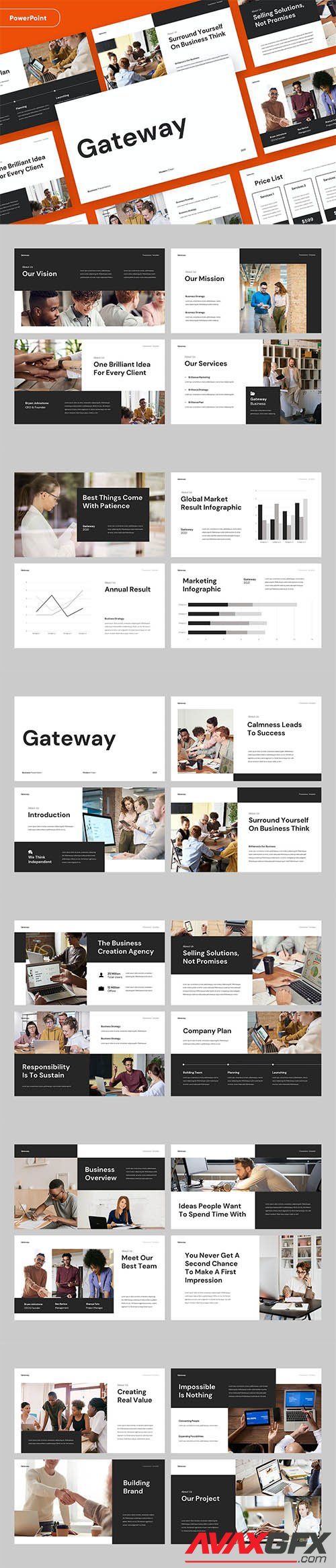 GATEWAY - Clean Business Pitch PowerPoint, Keynote and Google Slides Template