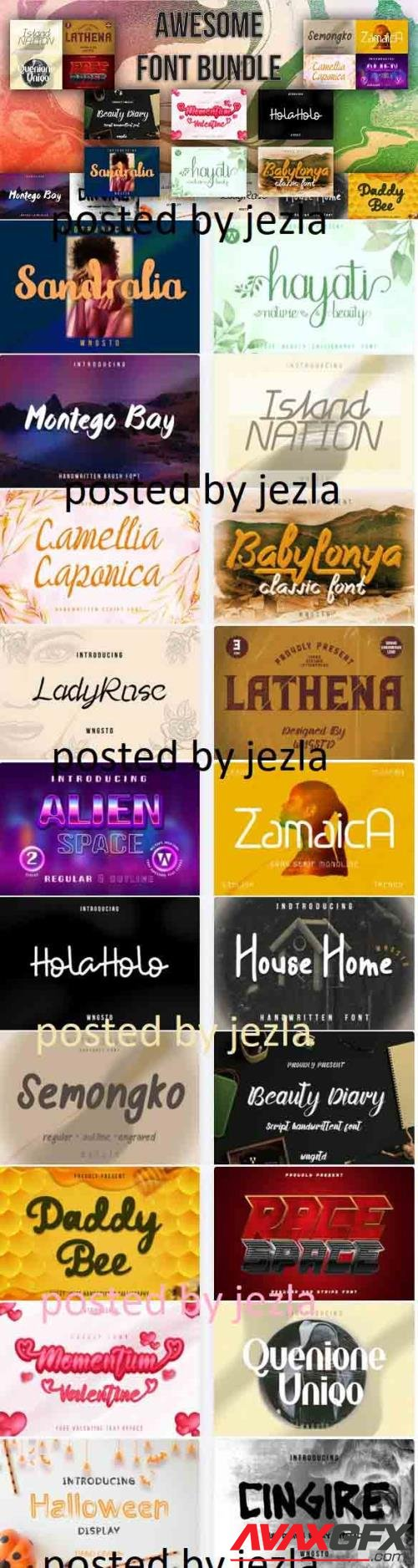 Awesome Fonts Bundle - 20 Premium Fonts