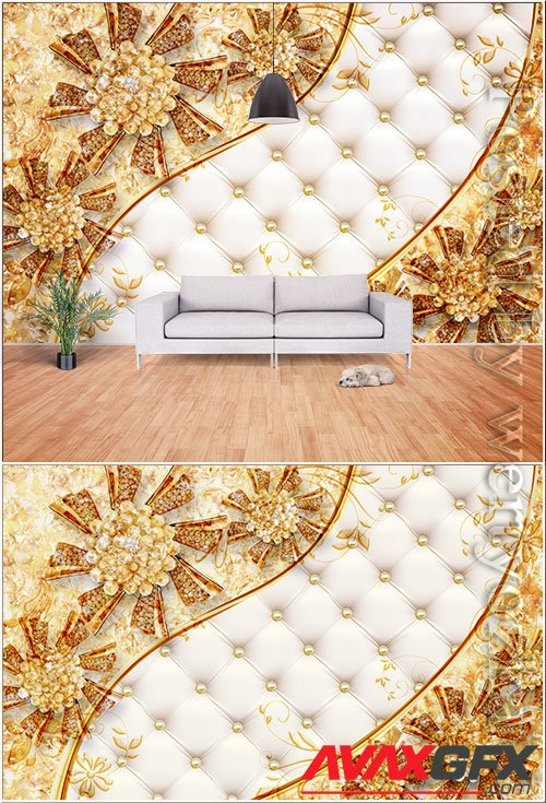 3d three dimensional noble luxury gold pearl flower background wall