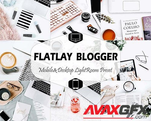 17 Flatlay Blogger Mobile & Desktop Lightroom Presets, Bright LR Preset